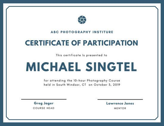 Teal graphy Participation Certificate