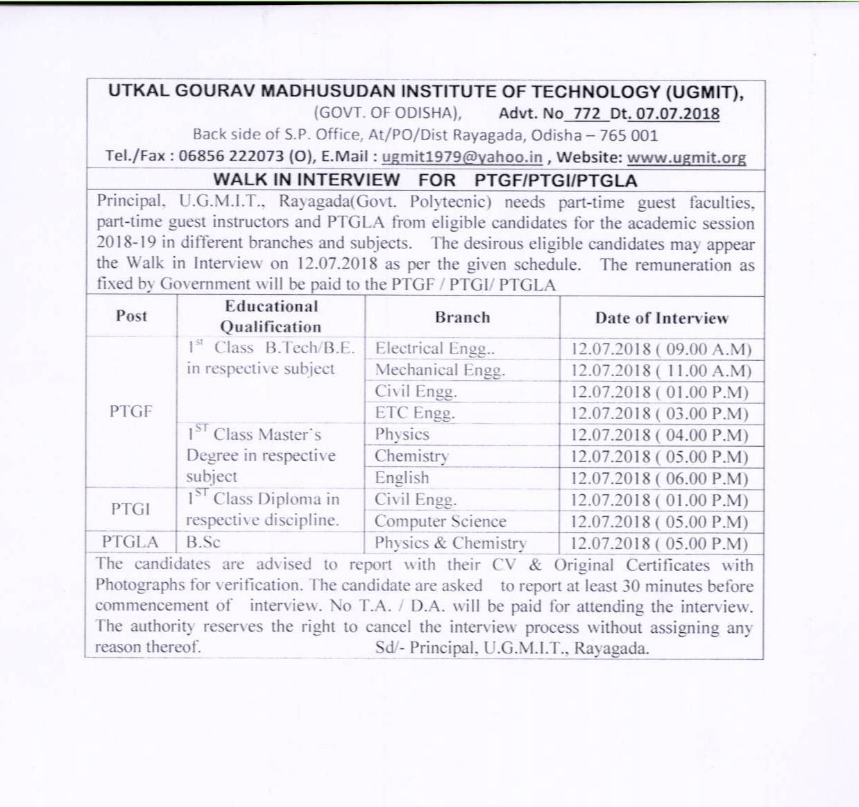 Date of counselling for Junior Clerk Assistant Training ficer new
